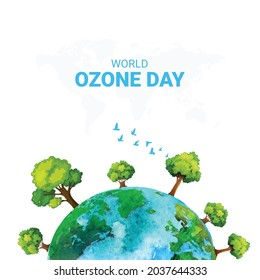 International Day for the Preservation of the Ozone Layer, world map vector design concept.