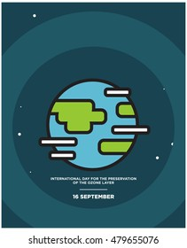 International Day for the Preservation of the Ozone Layer 16 September (Planet Earth With Clouds and Night Sky Stars Line Art in Flat Style Vector Illustration Icon Design)
