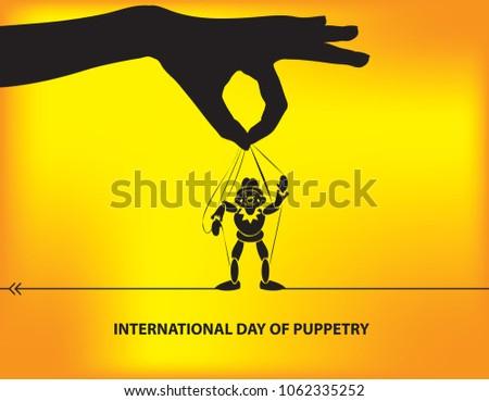 International Day Puppetry Poster Calendar Event Stock Vector