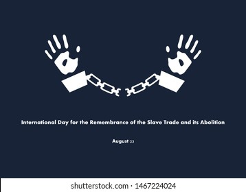 International Day for the Remembrance of the Slave Trade and Its Abolition vector. Prisoner with handcuffs. Hand in Chains vector. Day for the Remembrance of the Slave Poster, August 23. Important day