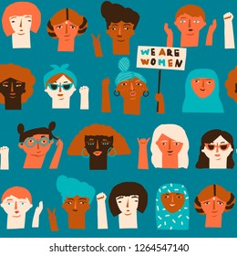 International Women's Day seamless pattern in vector with groups of diverse women protesting.