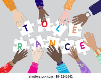 International day for Tolerance 16 November vector banner. Diverse hands male, female together holding puzzle pieces with letters TOLERANCE. Top view table, multicultural,  multiracial people palms