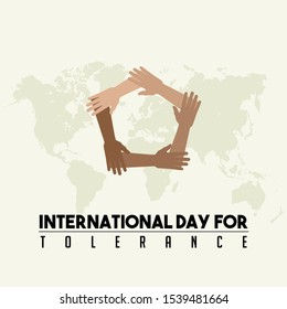 International Day for Tolerance with the five holding hands vector design