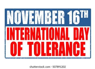 International Day of Tolerance grunge rubber stamp on white background, vector illustration