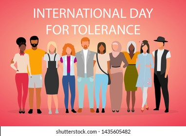 International day for tolerance poster vector template. Global collaboration and unity. Brochure, cover, booklet page concept design with flat illustrations. Advertising flyer, leaflet, banner layout