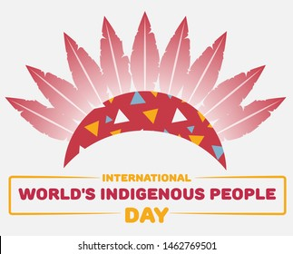 International Day of World's Indigenous People. Vector Flat Illustration crown of feathers. Tribal Painting.