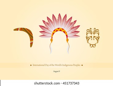 International Day of the World's Indigenous Peoples vector. Vector illustration symbols of indigenous people. Important day