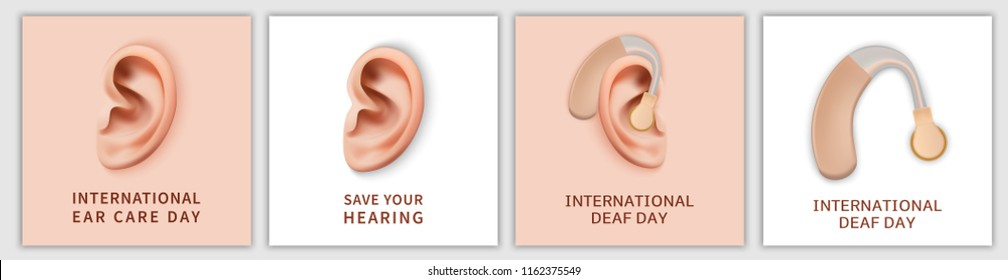 International Deaf Day hear world banner concept set. Realistic illustration of 4 International Deaf Day hear world vector banner concepts for web