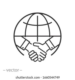 international deal icon, partner handshake, global trade, thin line web symbol on white background - editable stroke vector illustration eps10