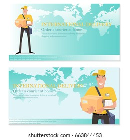 International delivery flyer coupon with free space for text. Order a courier at home. Vector illustration