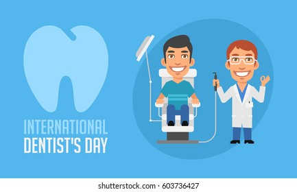 International Dentists Day Dentist and Patient in Armchair. Vector Illustration. Mascot Character.