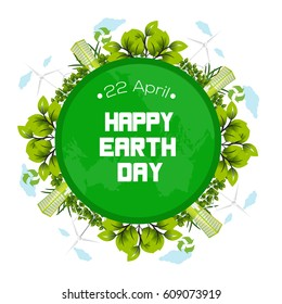 International Earth Day poster design.  Vector illustration
