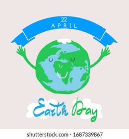 International  Earth Day. Save the planet concept. Template poster, banner, postcard. Green  leaves. Vector illustration.
