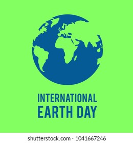 """International Earth Day"" Text, World Illustration, Banner"