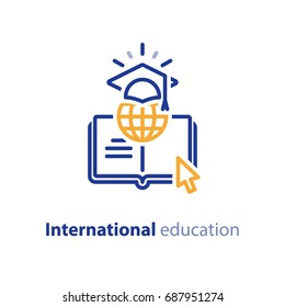 International education concept, global learning, online courses, internet university class, distance e-learning, vector line icon