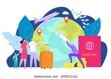 International emigration concept, vector illustration. People character immigration to foreign country, global travel with passport document.