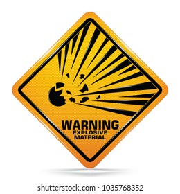 International Explosive Material Hazard Symbol Yellow Warning Dangerous icon on white background, Attracting attention Security First sign, Idea for,graphic,web, EPS10