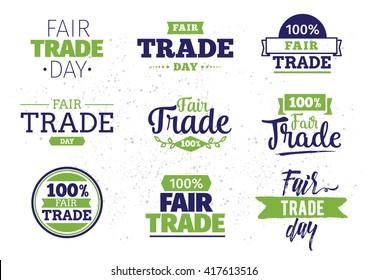 International fair trade day. Vector typography design. Usable for cards, logo, print or web.
