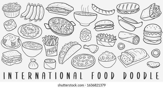 International Famous Food Doodle Line Art Illustration. Hand Drawn Vector Clip Art. Banner Set Logos.
