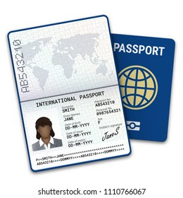 International female passport template with biometric data identification, photo of a black woman, signature and other personal data. Vector illustration