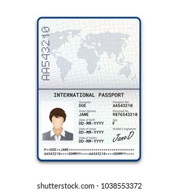 International female passport template with sample of photo, signature and other personal data. Vector illustration