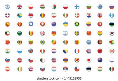 International Flag set in Circle , vector Design Element illustration