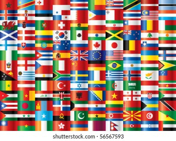 International flags vector. 130 flags.