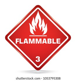 International Flammable Class 3 Symbol, red Warning Dangerous icon on white background, Attracting attention Security First sign, Idea for,graphic,web design,Vector,EPS10.