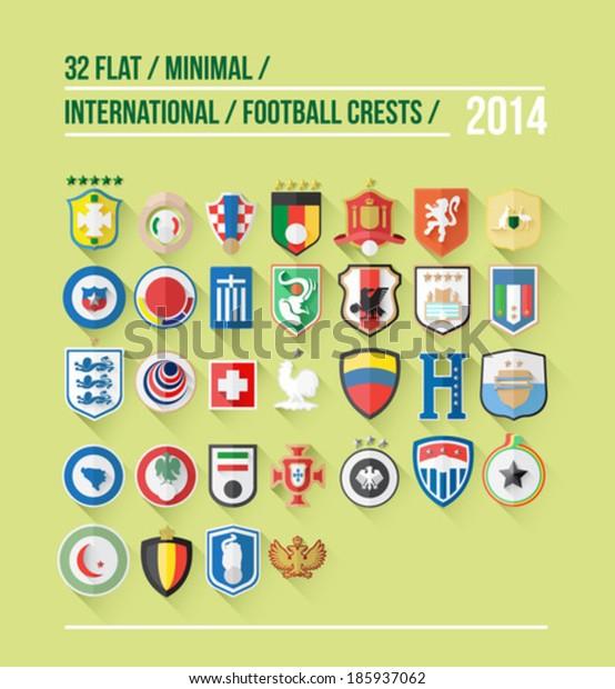 International football crest vector for 2014 on green background