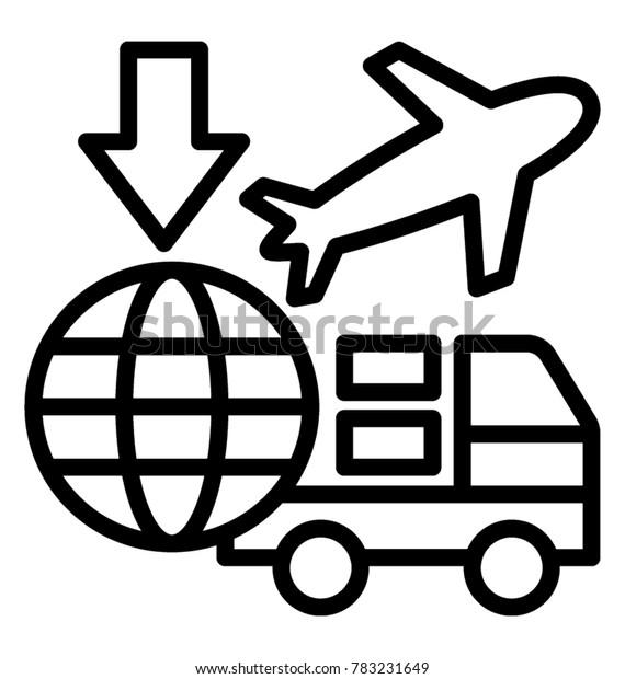 International Freight Forwarding Service Line Vector Stock Vector