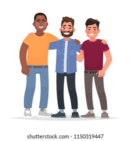 International friendship. African american, caucasian man and Asian together hugging. Vector illustration in cartoon style