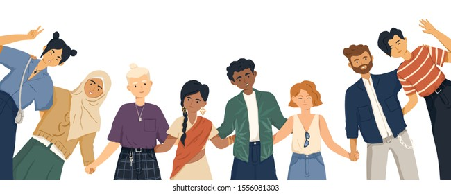 International friendship flat vector illustration. Young diverse people group standing together cartoon characters. Multiethnic unity and peace concept. Diversity and social togetherness idea.
