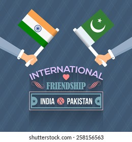 International Friendship India and Pakistan Vector Flat Design