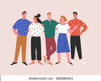 International friendship. Vector flat contemporary illustration of miscellaneous happy young people in casual clothes standing together. Isolated on background  - Shutterstock ID 1803684361