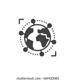 International, global business icon vector, filled flat sign, solid pictogram isolated on white. Symbol, logo illustration
