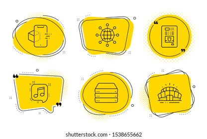 International globe, Servers and Arena stadium signs. Chat bubbles. Musical note, Augmented reality and Coffee vending line icons set. Speech bubble, Phone simulation, Coffee vending machine. Vector
