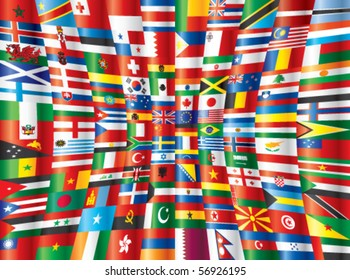 Background various world flags design template stock illustration international glossy flags vector 130 flags freerunsca Image collections