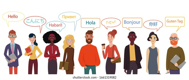 International group of businessmen and businesswoman. Hello in different languages.  Diverse cultures, international communication concept, club of foreign languages, language learning camp.