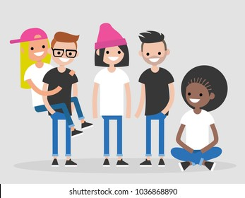 International group of young friends. Diversity. Millennials. Full length characters. Flat editable vector illustration, clip art