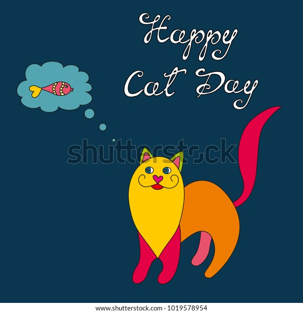 International Happy Cat Day Vector Illustration Stock Vector Royalty Free 1019578954