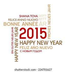 International Happy New year - text translated into several languages