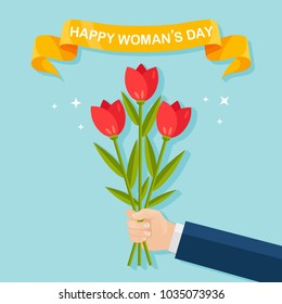 International happy woman day, 8 march concept. Hand hold bouquet of red tulip, bunch of flowers isolated on background. Giving gift, present, surprise for mothers. Spring holiday. Vector flat design