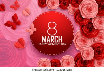International Happy Women's Day with paper cutting butterflies, roses and red round sign on flowers pattern background