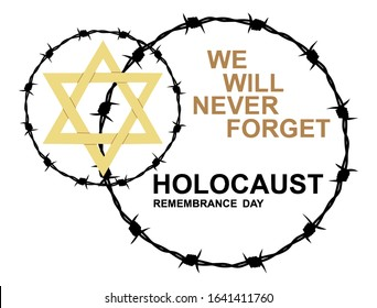 International Holocaust Remembrance Memorial Day, Yellow Star of David International Day of Fascist Concentration Camps and Ghetto Prisoners Liberation card.  Barbed wire. We will never forget