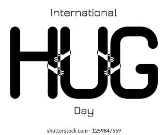 International Hug Day. Hands hug the letters