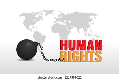 International human rights day concept with map and chain