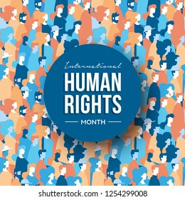 International Human Rights month illustration for global equality and peace with diverse people group.