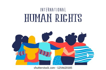 International Human Rights month illustration for global equality and peace with diverse people friend group.