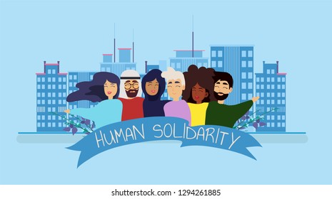 International human solidarity day concept diverse friend group from different cultures hugging together for community help, social equality. Background with big city. Vector illustration.