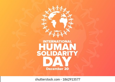 International Human Solidarity Day. December 20. Holiday concept. Template for background, banner, card, poster with text inscription. Vector EPS10 illustration
